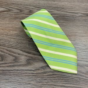 Jos A Bank Signature Lime Green Stripe Cotton Tie